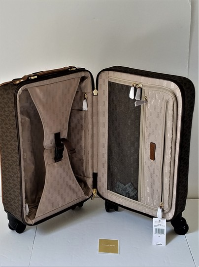 Michael Kors Trolley Carry-on Suitcase Jet Set Trolley Luggage Brown Travel Bag Image 3