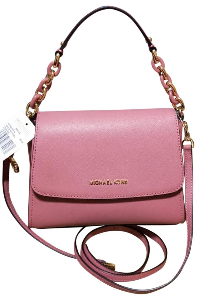 d6349a2e6f98 Michael Kors Sofia Small Saffiano Portia Rose Pink Leather Satchel ...