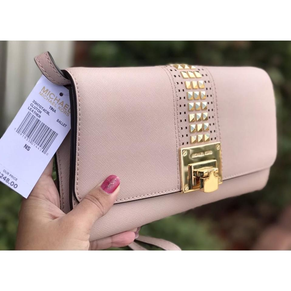 f20b69fca1edc1 Michael Kors Shoulder Clutch Tina Studded Flap In Ballet Saffiano ...