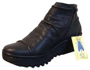 FLY London Leather Ankle Navy Wedges