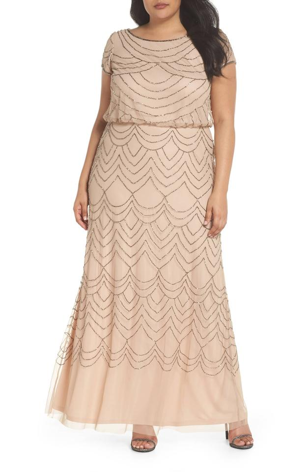 Adrianna Papell Taupe Pink Short Sleeve Art Deco Beaded Blouson Gown ...