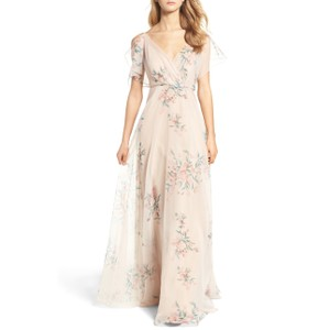 Jenny Yoo Cassie Flutter Sleeve Gown Feminine Bridesmaid/Mob Dress Size 2 (XS)