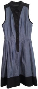 Blue and Black Maxi Dress by Proenza Schouler Western Two-tone Denim Pockets Wide Skirt