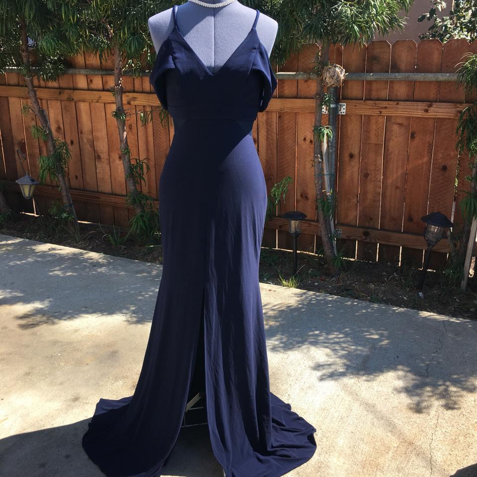 Xscape Navy Cold Shoulder Gown Long Formal Dress Size 6 (S) - Tradesy