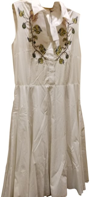 Item - White Muly Embroidered Mid-length Cocktail Dress Size 12 (L)