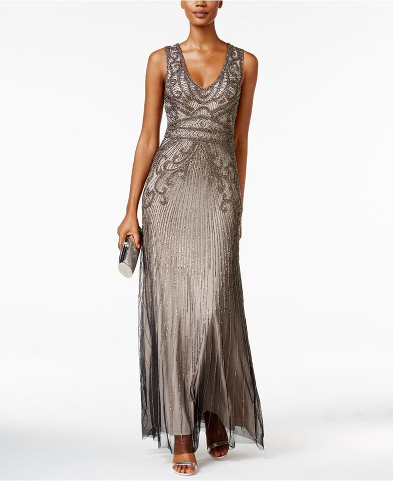 Adrianna Papell Platinum Sleeveless Art Deco Beaded Gown with V-neck ...