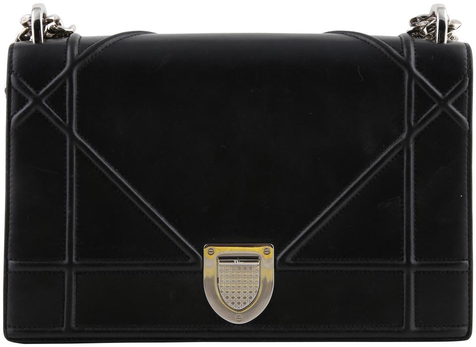 aabd97f55443 Dior Diorama Black Lambskin Leather Cross Body Bag - Tradesy
