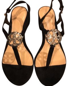 02ecd53d2742a Tory Burch Leather Suede Miller with Rhinestone Logo Sandals Size US ...
