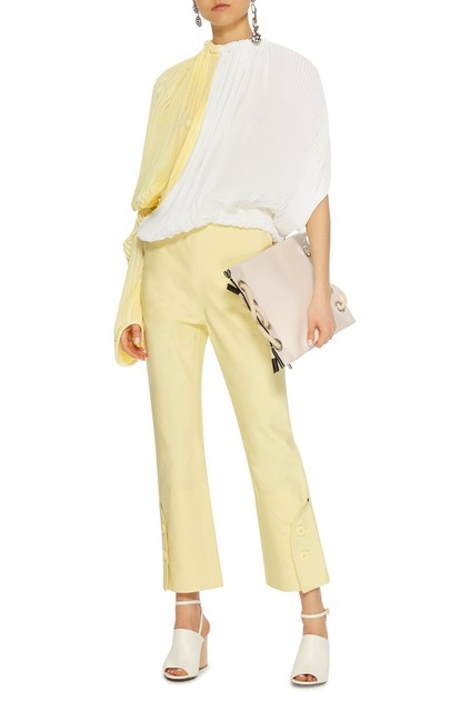 Item - Cream/Pale Yellow 36 Made In Italy with Button Details Pants Size 6 (S, 28)