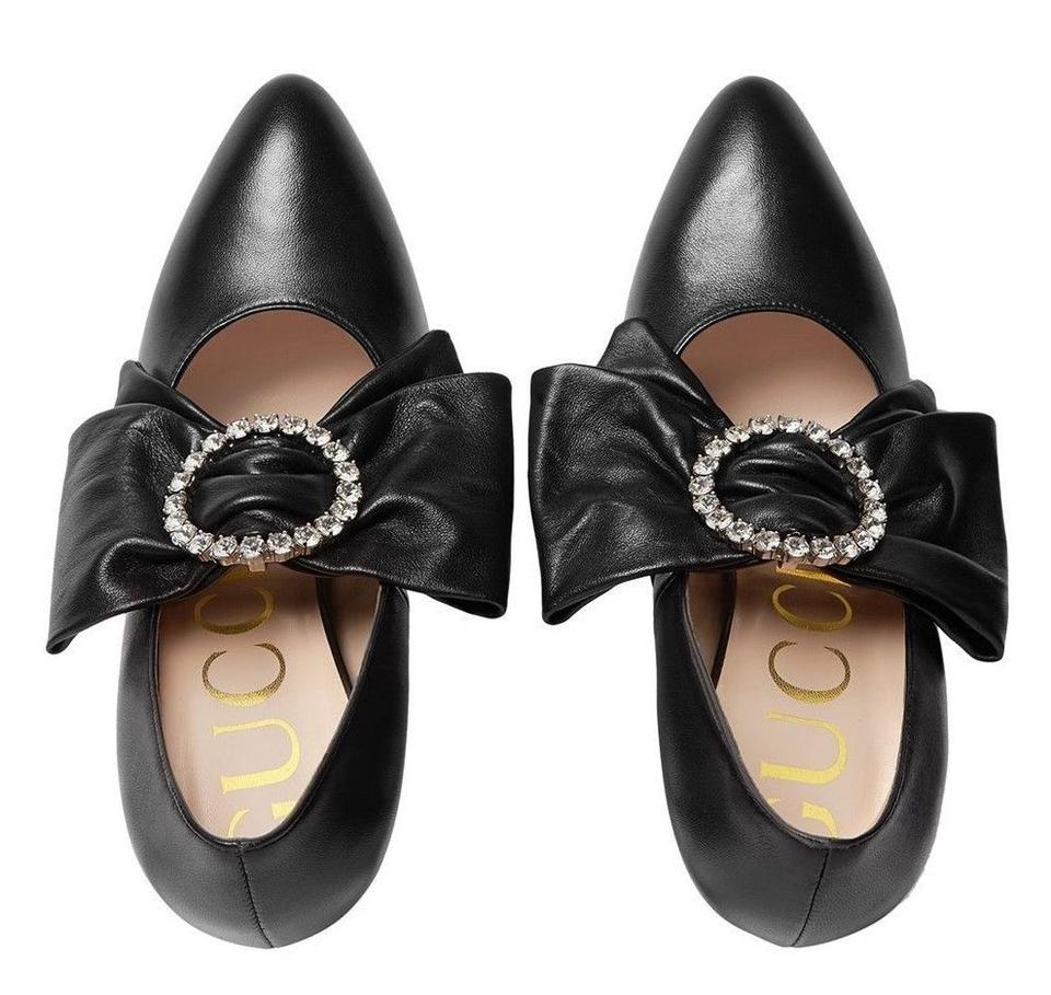 c66e2787047 Gucci Black Crystal New Leather Removable Bow Holiday Heels Box ...