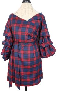 Do & Be short dress Tartan Plaid Puff Sleeves Tie Waist on Tradesy