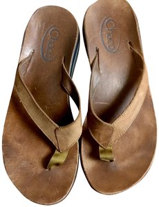 Chaco Leather Thongs Rubber Soles brown Sandals