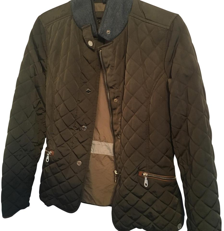 Massimo Dutti Olive Quilted Jacket Size 8 M Tradesy