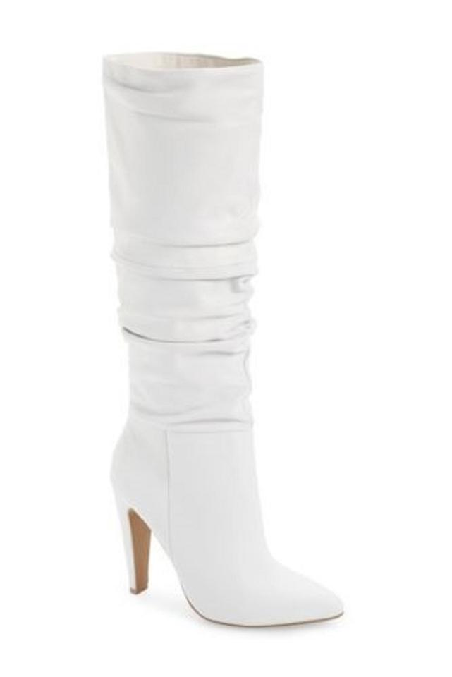 0c5b0af5243 Steve Madden White Carrie Ruched Leather Boots Booties Size US 6 ...