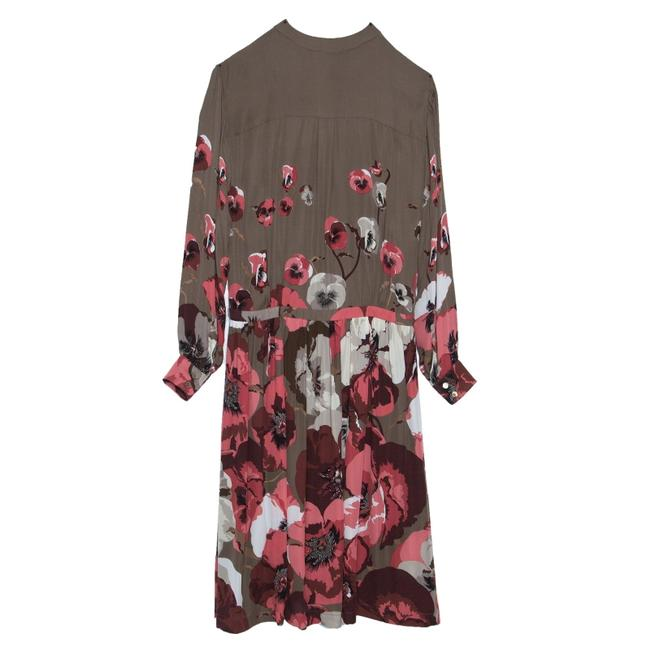 Item - Brown Floral Printed Sleeve Long Night Out Dress Size 4 (S)