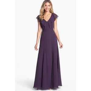 Jenny Yoo Plum Cecillia Ruffle Gown Feminine Bridesmaid/Mob Dress Size 10 (M)