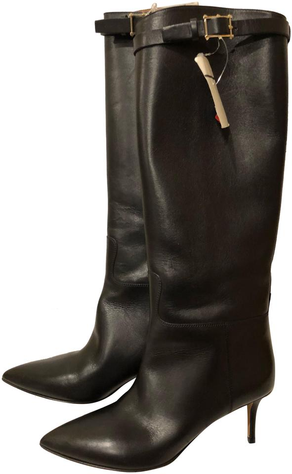 ec9a80c510d Valentino Black New Kitten Heel Knee High Leather Boots Booties Size ...