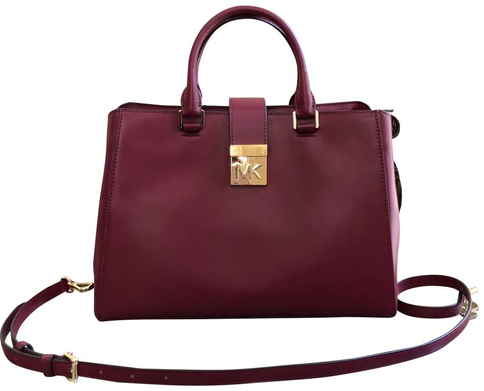203951f2a5c245 Michael Kors Mk Jet Set Leather Pink Winter Satchel in MULBERRY Image 0 ...