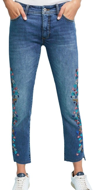 Item - Blue Pilcro Embroidered Mid-rise Slim 25p Straight Leg Jeans Size 25 (2, XS)