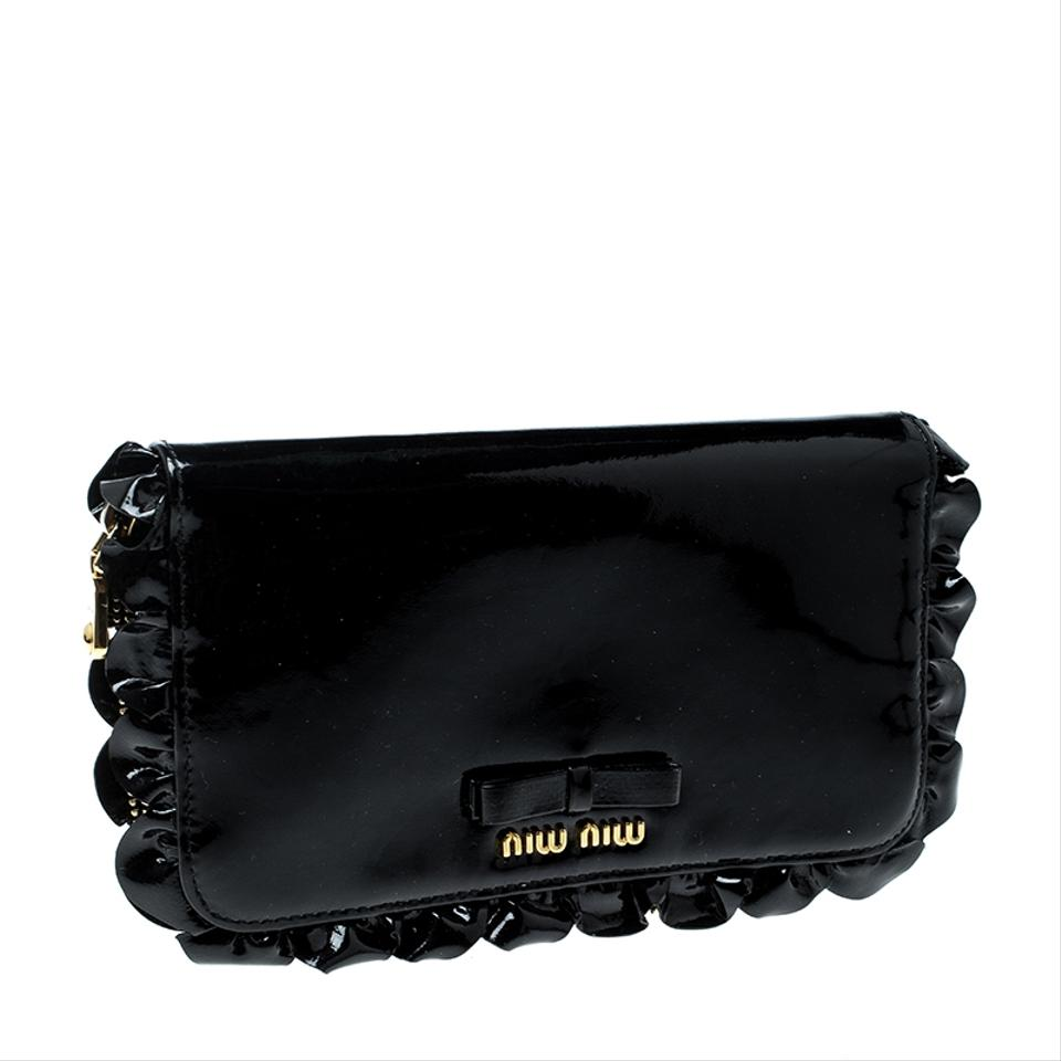 ffcc59bd966f Miu Miu Black Patent Leather Ruffle Zip Around Wallet Image 9. 12345678910