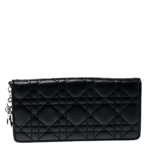 Dior Black Cannage Leather Lady Dior Flap Wallet