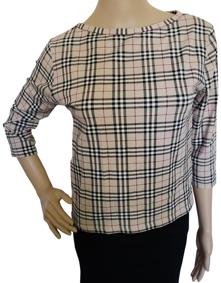 63cdfd8f81b Burberry Cotton Longsleeve Nova Check Monogram Print Top Beige, Brown Image  0 ...