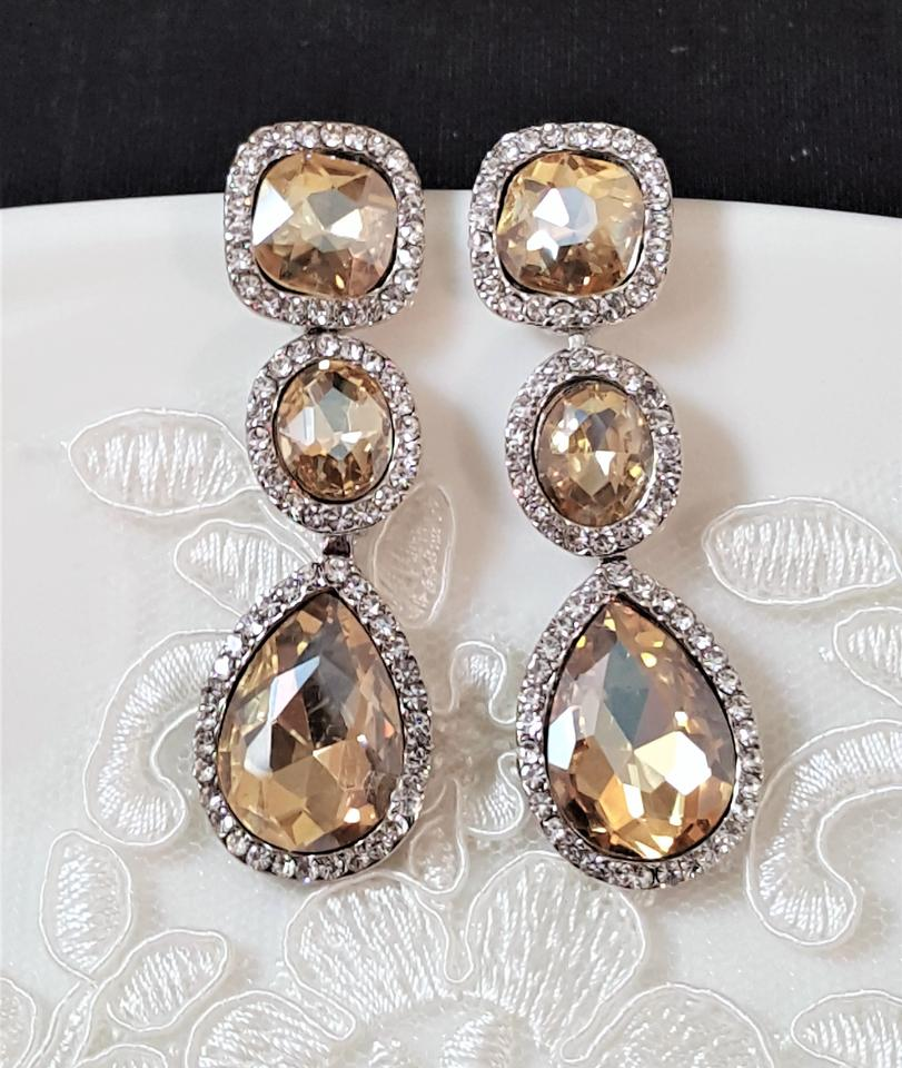 Silver Plated Champagne Crystal Earrings