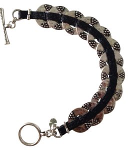 Lucky Brand Granulation Disc & Black Leather Bracelet