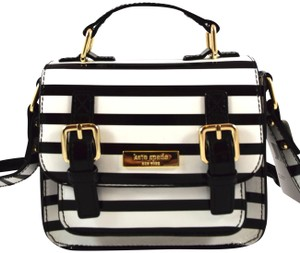 Kate Spade black/cream stripe 961 Messenger Bag
