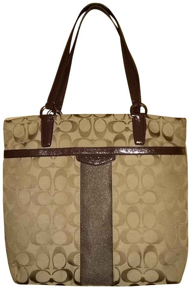 00d113af7604 Coach Tote Khaki Signature Stripe 12cm Purse F28504 Mahogany Shoulder Bag  75% off retail