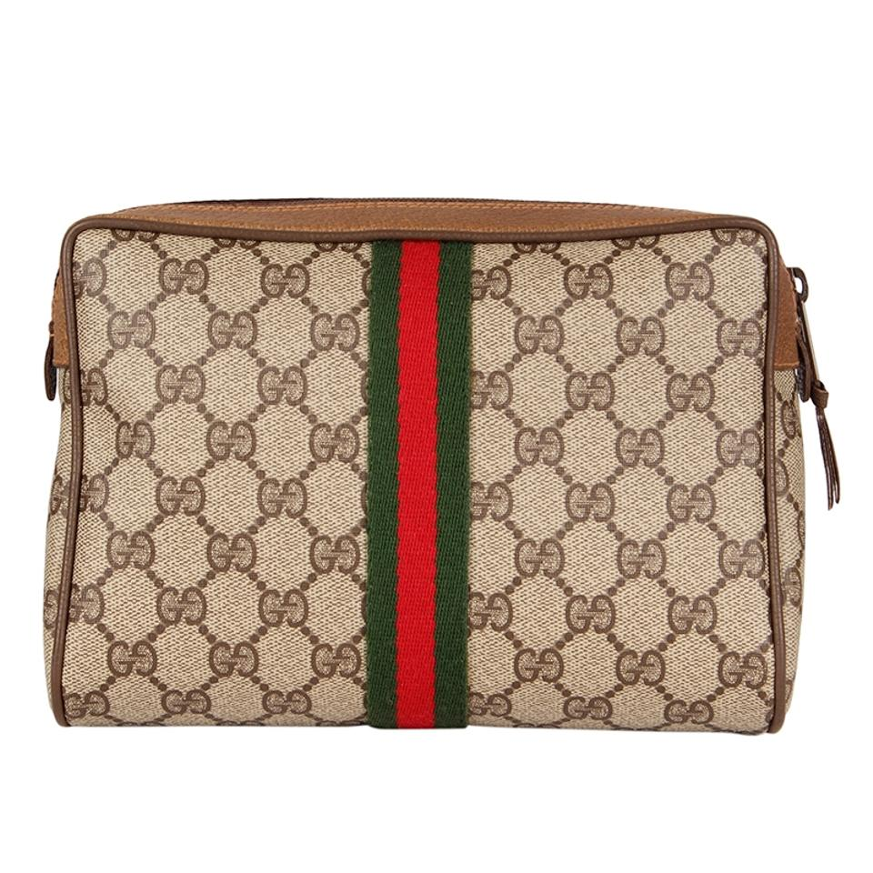 204b0405198 Gucci Webby GG Monogram Canvas Leather Cosmetics Toiletry Bag or Clutch  6518 Image 0 ...