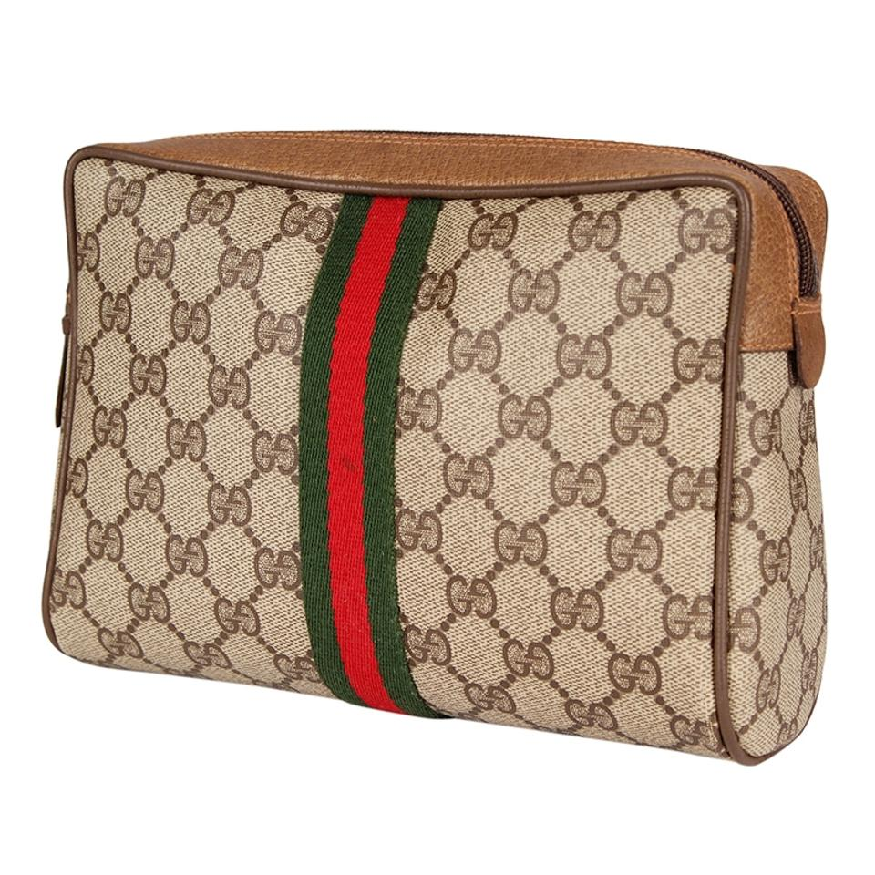 5062eac774c Gucci Brown and Tan 6518 Webby Gg Monogram Canvas Leather Toiletry Or Clutch  Cosmetic Bag - Tradesy
