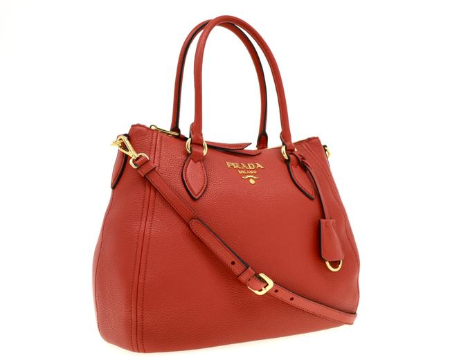 Prada Phenix Convertible Red Leather Shoulder Bag Prada Phenix Convertible Red Leather Shoulder Bag Image 1