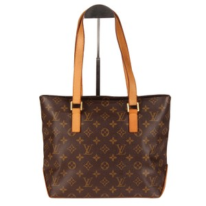 Louis Vuitton Cabas Piano Monogram Canvas Leather Satchels Tote in Brown