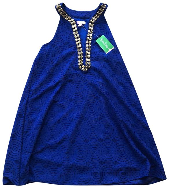 Item - Blue and Gold Achelle Mystical Knotty Lace Mid-length Formal Dress Size 2 (XS)
