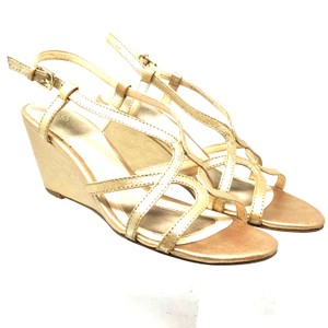 Isola Wedge Size 6.5 Strappy S061118-06 Gold Sandals