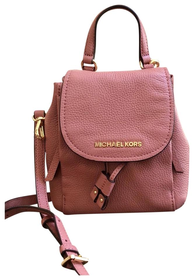 57fae61c5671 Michael Kors Riley Small Flap Pack Handbag Rose Pebbled Leather Cross Body  Bag