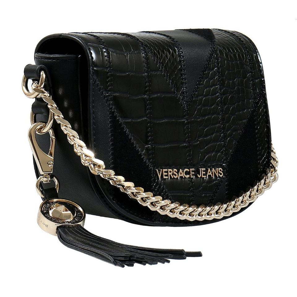 Versace Jeans Collection Patchwork Small Black Faux Leather Shoulder ... 55329a3832d26