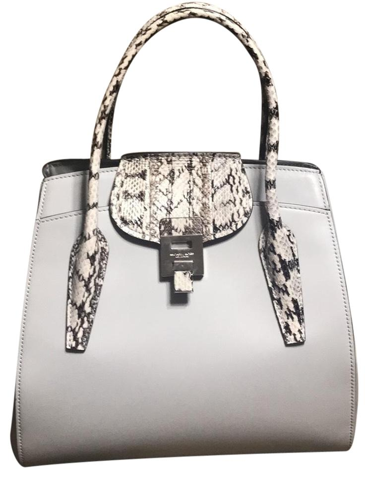 01594b23336c Michael Kors Collection Satchel in Pearl Gray with Snakeskin Image 0 ...