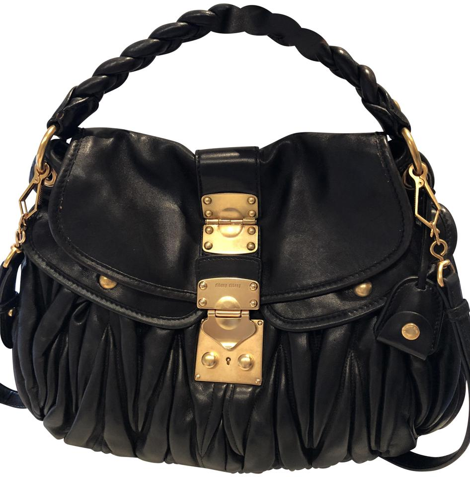 971b9bbdaa34 Miu Miu Matelasse Coffer Black Lambskin Leather Shoulder Bag - Tradesy