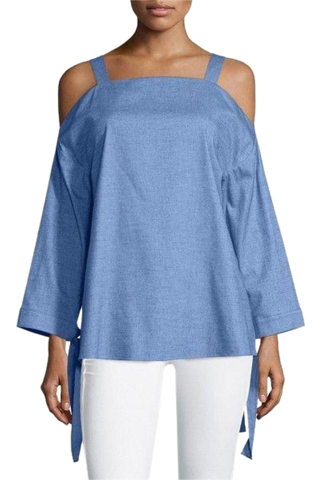 045f870a031ad Tibi Blue Cold Shoulder Cut Out Chambray Blouse Size 8 (M) - Tradesy