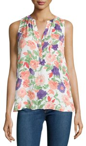 a3d7e29328614 Joie Silk Floral Top White Pink Green Purple