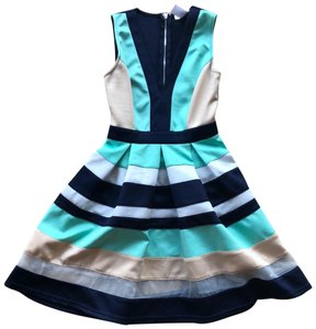 A'Gaci short dress Navy Blue and White and Sea Foam Green on Tradesy
