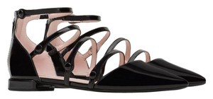 Zara Ankle Strap Patent Patent Leather Black Flats