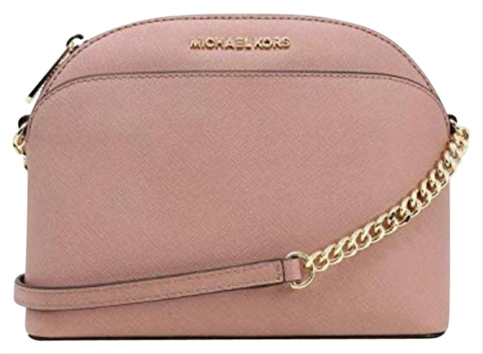 9465ba9eb9ba Michael Kors Emmy Medium Dome Beige Fawn Pink Leather Cross Body Bag ...