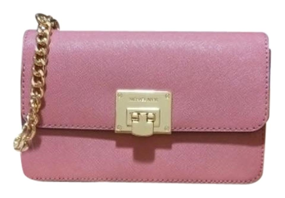 289244d0492f Michael Kors Tina Wallet+bag 2 In 1 Clutch Pink Saffiano Leather Cross Body  Bag 58% off retail
