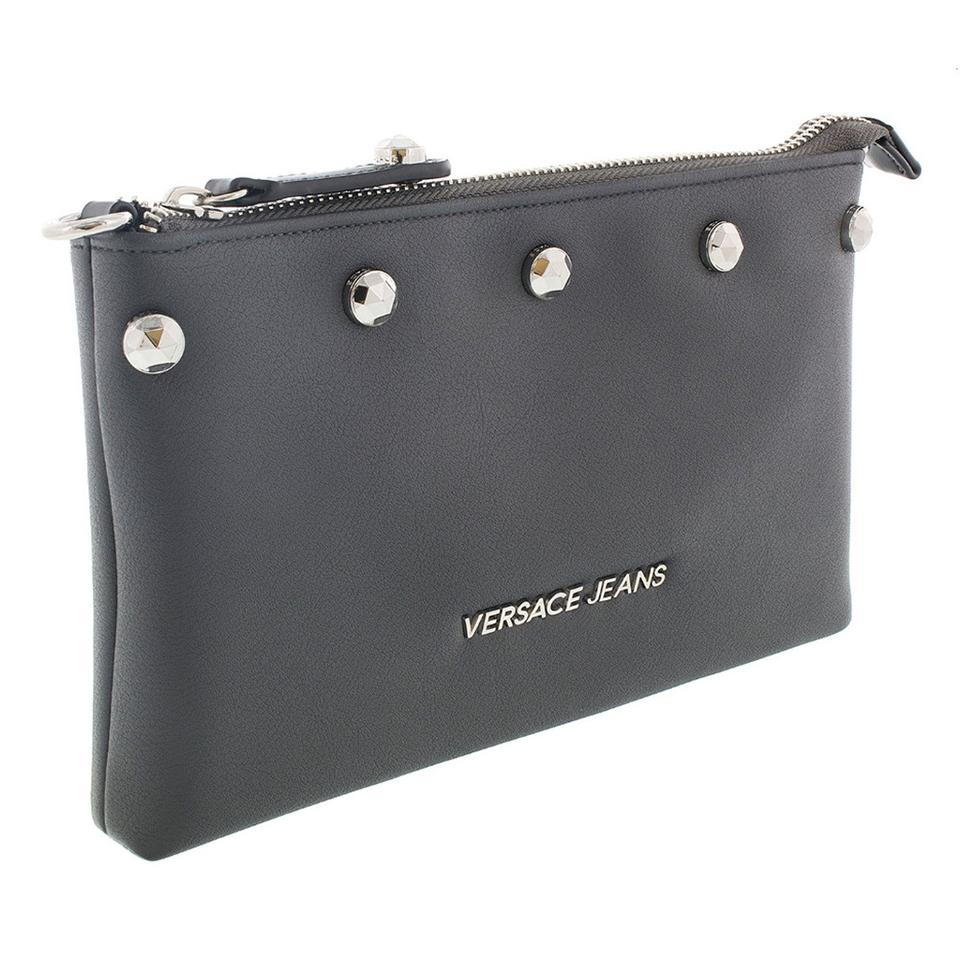 Versace Jeans Collection Black Wallet On Chain Dark Grey Faux ... 491953ee61433