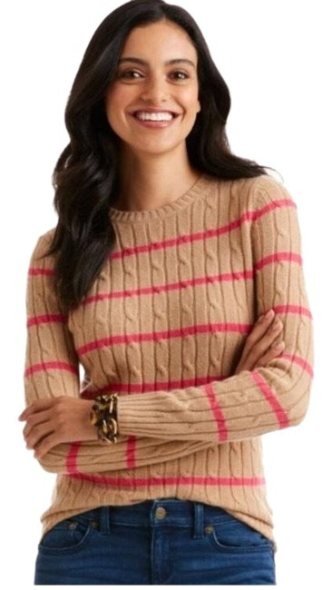 Preload https://img-static.tradesy.com/item/23990292/vineyard-vines-and-coral-stripe-cashmere-coral-lane-cable-knit-tan-sweater-0-1-650-650.jpg