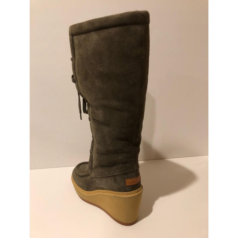 2b7be90823c See by Chloé Grey New Real Shearling Lined Lace Up Wedge Suede Tall  Boots/Booties Size EU 35 (Approx. US 5) Regular (M, B) 74% off retail