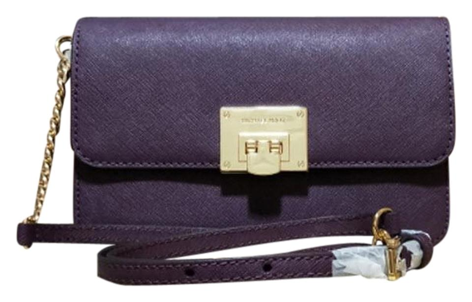 9ca96d952083 Michael Kors Tina Wallet+bag 2 In 1 Clutch Purple Saffiano Leather ...